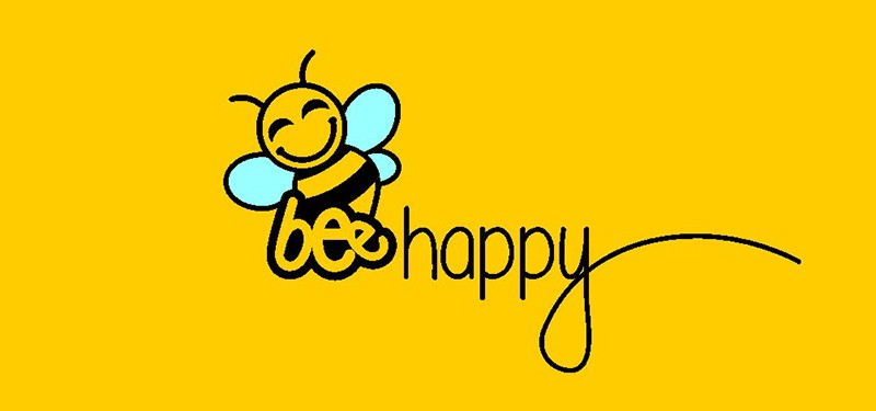 Bee happy logo rumena